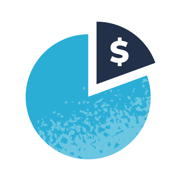 a pie chart with highlight money slice